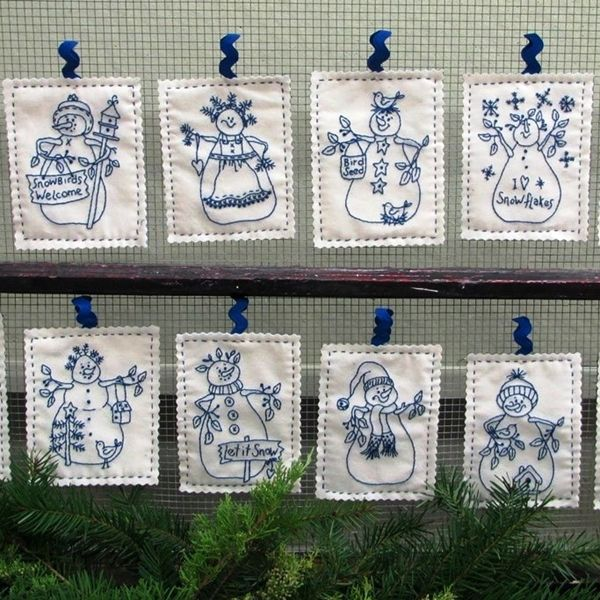 12 BlueWork Machine Embroidered Snowmen and Ladies to Decorate With All Winter. They Will Make Whimsical Ornaments For Holiday Decorating Too!