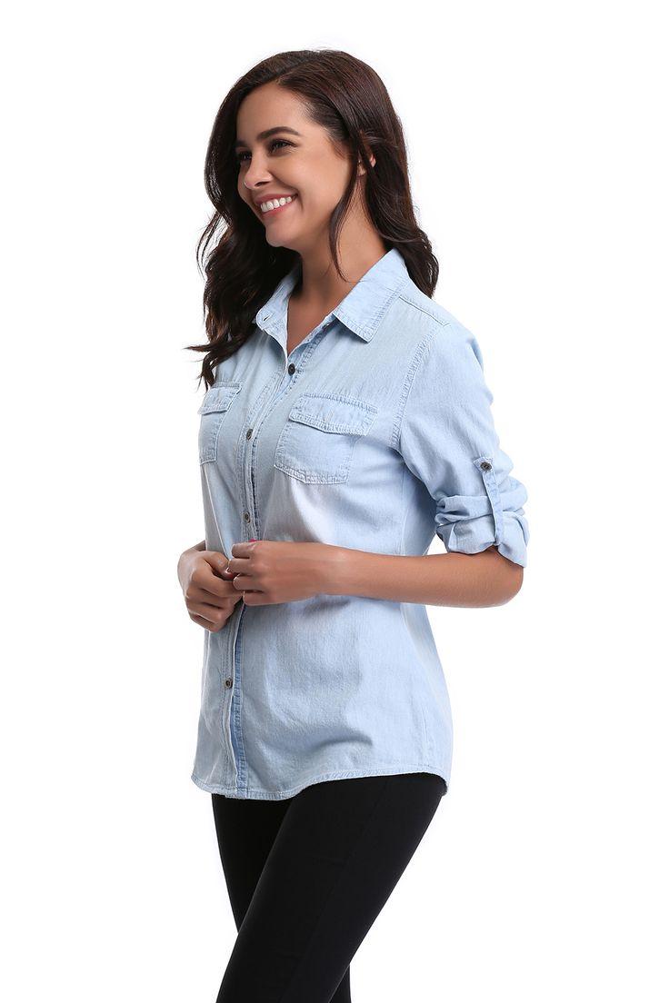 Womens Chambray Shirt Top denim Shirts and Blouses Long Sleeve Snap Button Cotton Ladies Shirt Camisa. Click visit to buy #Blouse #Shirt #BlouseShirt