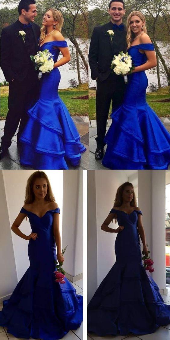 royal blue prom dress, fashion mermaid wedding party dress, luxury tiered wedding dress, off the shoulder bridesmaid dress B0454