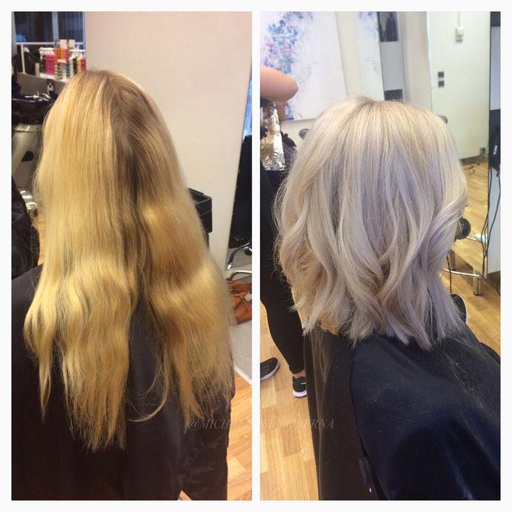 Från ett väldigt gult hår till en ny grym hårfärg och ett fräscht kortare hårSandra slingar hela håret och nyanserar i en kall ton. Resultatet blir grymt snyggt✨  #michaelofrisorerna #hairpassion #stockholm #ombre #ombrehår #ombrehair #balayage #olaplex #olaplexsweden #hair #hairstyle #hairstylist #hår #haircolour #hairfashion #Longhair #hairdresser #blondehair #blonde #brownhair #curlyhair