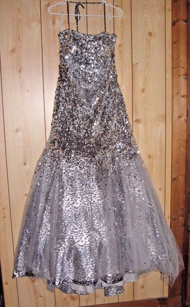 Tiffany Size 16 Sequined Formal Gown Silver W6 Layered Animal