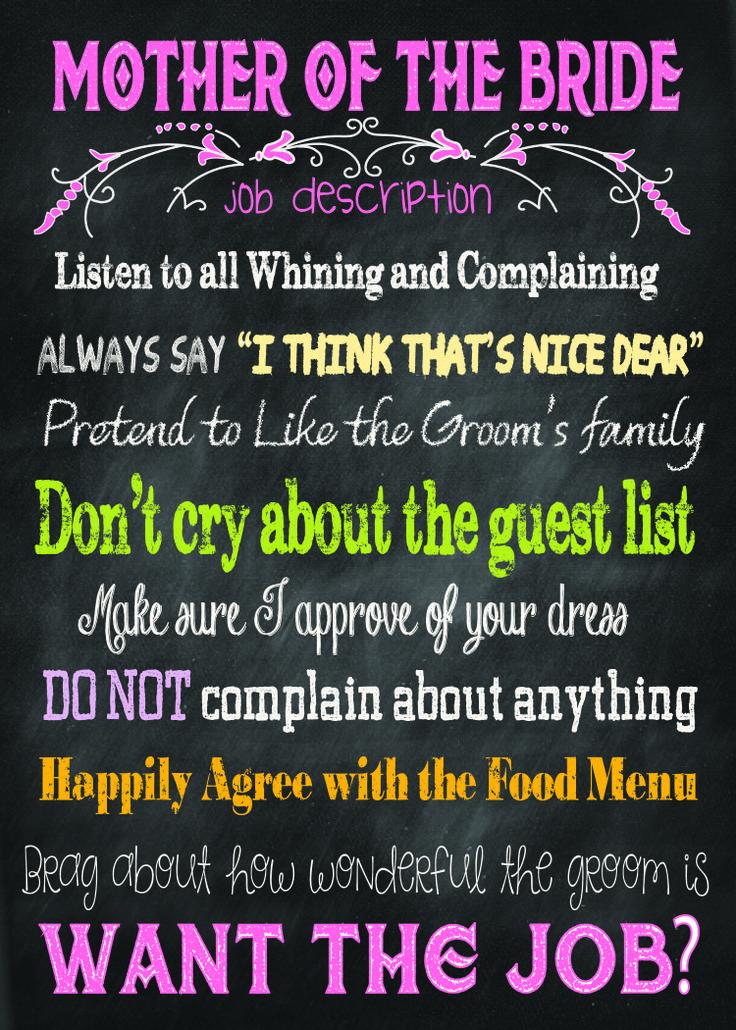 Mother Of The Bride Job Description For Wedding Checklistswedding Plannerwedding
