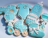 14 Tiffany Blue Baby Shower decorated Sugar cookie Onsies