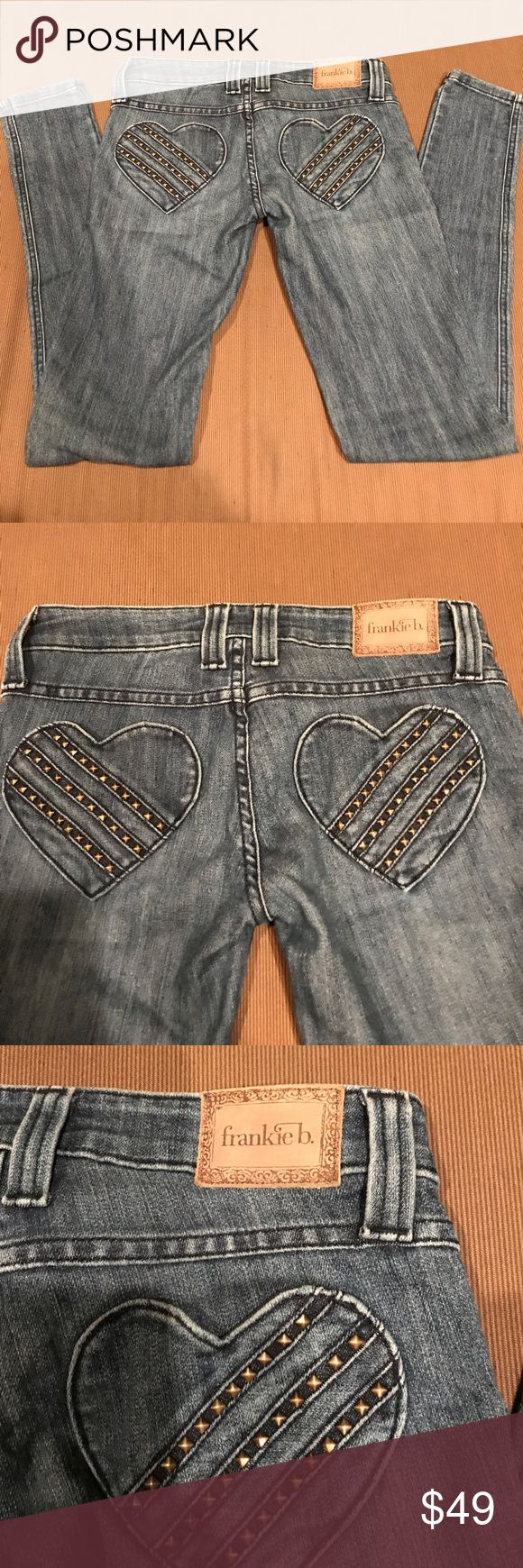 Frankie B Studded Heart ❤️ Pocket low cut jeans 25 Frankie B Studded Heart ❤️ Pocket low cut jeans 25.  Skinny legs great pre loved condition.    Have stretch Frankie B. Jeans Skinny