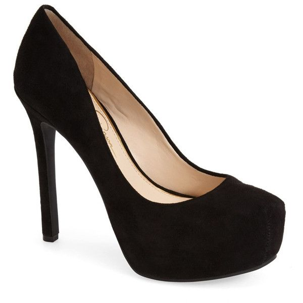 Jessica Simpson Rebeca High Heel ($49) ❤ liked on Polyvore featuring shoes, pumps, heels, black, sapatos, black suede, black pumps, suede platform pumps, black platform pumps and black slip-on shoes