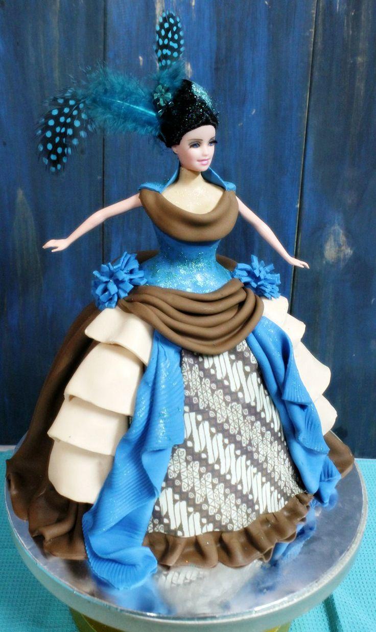 Batik Yogya fabric, Ethnique Barbie Doll Cake