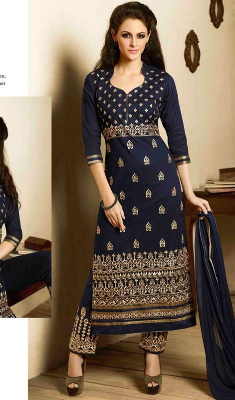 Upfront your charm and elegance dolled up in this salwar kameez in navy blue cotton embroidered. This dress is beautifully adorned with lace, patch and resham work. #AttractiveEmbroideredNavyBlueDress