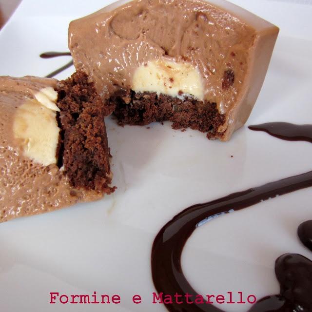 mousse di cioccolato al latte con cremoso alla vaniglia e brownies
