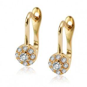 Złote kolczyki z cyrkoniami - Biżuteria srebrna dla każdego tania w sklepie internetowym Silvea