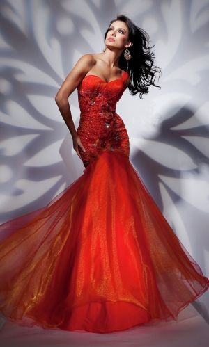 Red Mermaid/Trumpet One Shoulder Organza Pageant Prom Dress PD3506