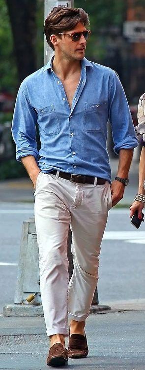 Men's Fashion: #blue #denim #shirt
