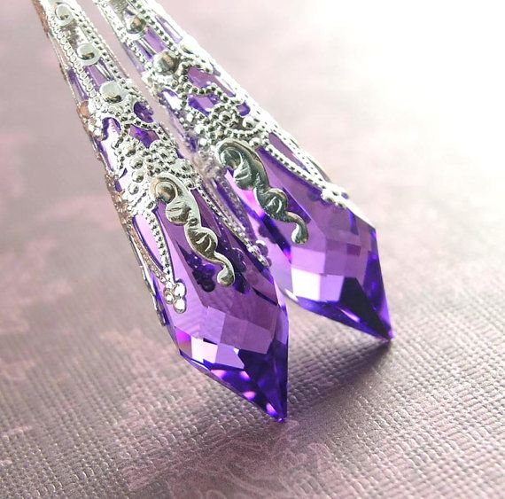 Purple Crystal Earrings Sterling Silver Swarovski Crystal Violet Purple Drop Earrings Amethyst Earrings on Etsy, $42.00
