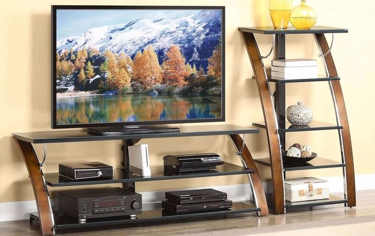Home Entertainment Brown Cherry 70 Inches TV Stand With 3-Shelf Glass Tabletop