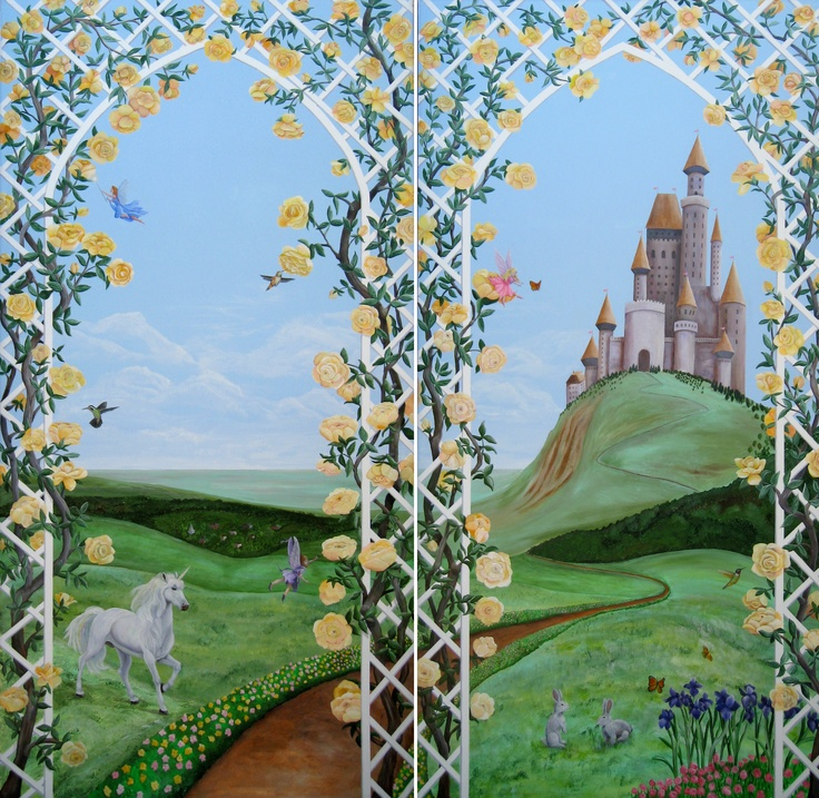 14 best images about kid s room on pinterest for Fairy castle wall mural