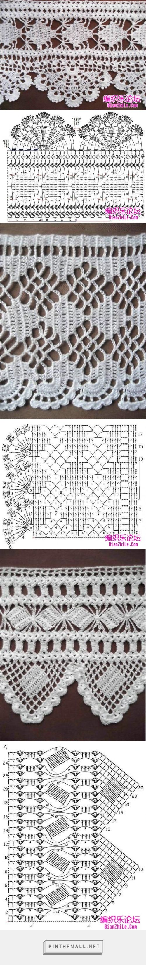 These crochet lace edgings are more intricate. Very good charts and samples by MyPicot; originally from the Home Work book, published 1891.