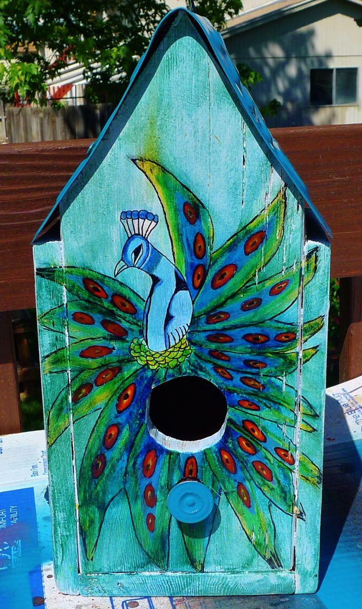 Diy peacock birdhouse i made for me birdhouse designs