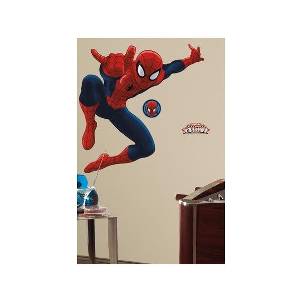 Spiderman - Ultimate Spiderman Peel & Stick Giant Wall Decal Wall Art... ($23) ❤ liked on Polyvore featuring home, home decor, wall art, peel and stick wall decals, peel and stick wall stickers, spiderman decal, spiderman wall stickers and spiderman wall decals