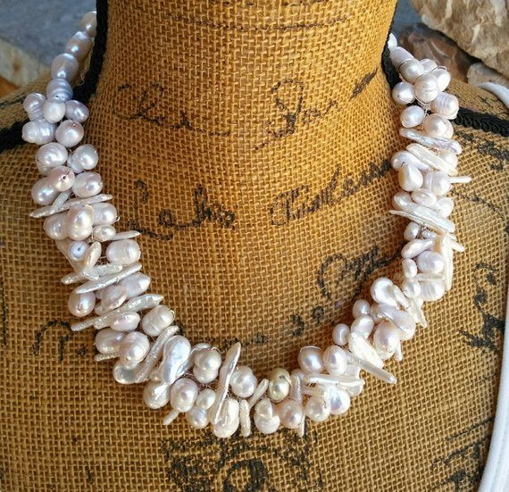 Gift for Her Pearl Necklace Pearl Beaded Angel Choker Necklace Gold Jewelry