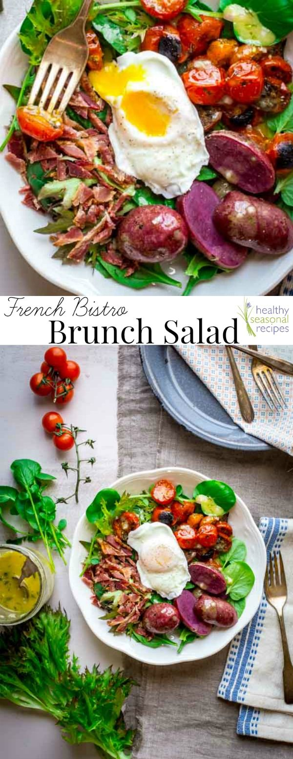 french bistro brunch salad with a poached egg and broiled cherry tomatoes - Healthy Seasonal Recipes