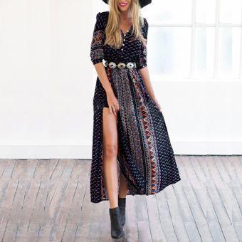 Nueva Primavera 2016 Mujer-s de la manera V-cuello media manga de la Impresión el Tamaño de la gasa de Bohemia de hendidura vestido de la cintura Vestidos Maxi Plus Fajas