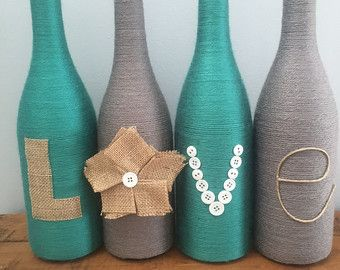 Yarn wrapped bottles, wine bottles, wrapped bottles with burlap love