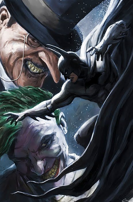 Bats, Penguin and the Joker.