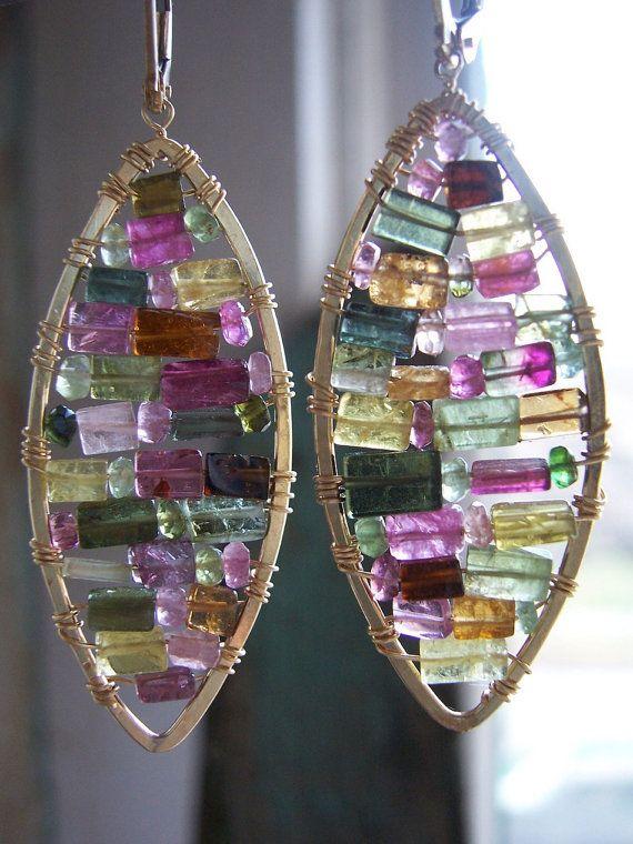 Watermelon Tourmaline Stained Glass Earrings with 14kt gold filled hardware, Watermelon Tormaline Earrings,.