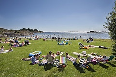 Beautiful day at the beach in Grimstad  Photo: Hanne Feyling, Visit Sørlandet