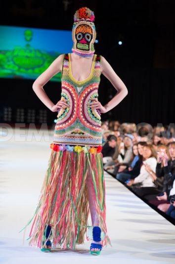 Katie Jones showcases colourful knitwear at Brighton Fashion Week