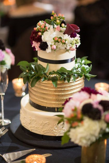 3 Tier modern metallic wedding cake accented with greenery and flowers. Photography   Joseph Mark photography #bridesofnorthtx #northtxbride #weddingcake