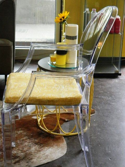 Clear Chair With Yellow Accents At Sugar Hair Studio In Atlanta, Georgia ·  Clear ChairsSalon DesignHair StudioHairdresserSalon IdeasYellow ...