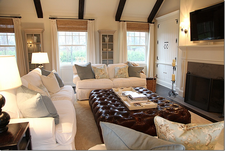 Creams and whites, lots of natural light and big cozy fireplace...perfect!
