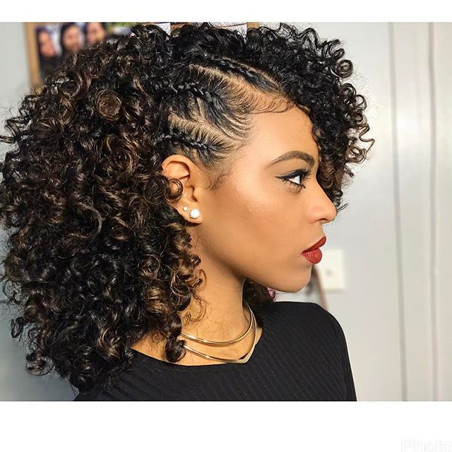 Curly hair style with braids