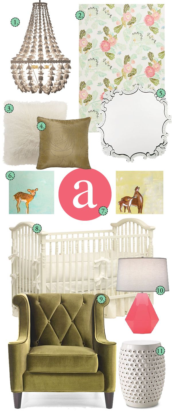 Lindsay would love the vintage chair, chandelier, crib, pillows, and mirror.