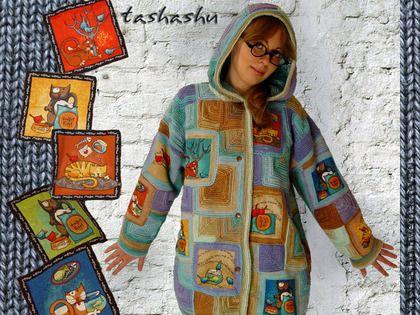 """Вязаная куртка """"Теплые коты"""". - бирюзовый,рисунок,вязаная куртка,вязаный пэчворк"""