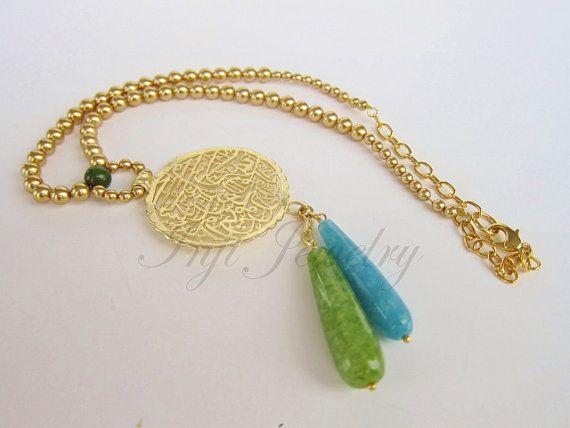 Green and Blue Jade Gemstone Necklace. Swarovski by INJIJEWELRY