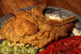Southern Deep Fried Pork Chops from Deep South Dish blog, a southern favorite, simply seasoned and breaded bone-in pork chops and deep fried. Super yummy when served with a peppered milk gravy or a drizzle of Honey Mustard Meat Sauce.