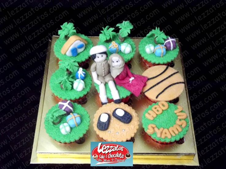 Cupcake tema A Planter.  Hiasan dari fondant.