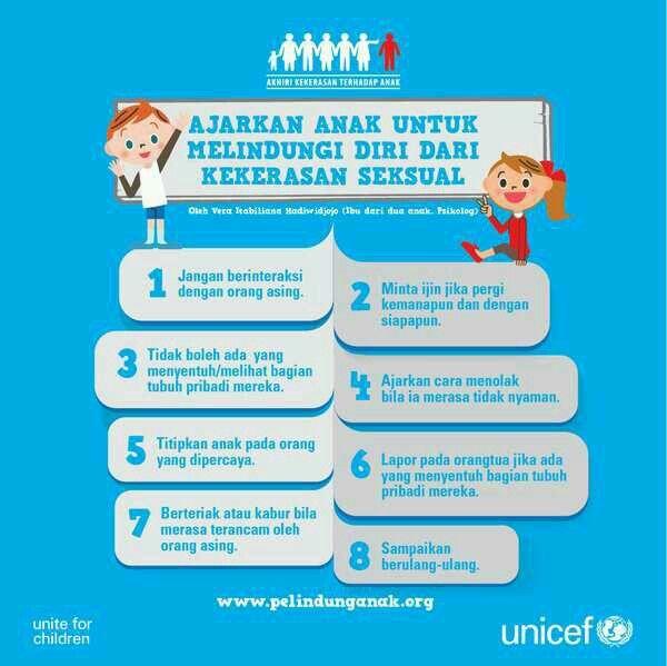 Berikut adalah cara mengajarkan anak untuk melindungi diri dari kekerasan seksual. Sumber: www.pelindunganak.org