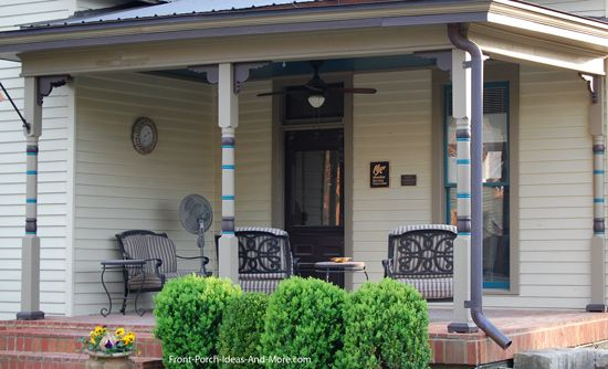 Turned porch columns help make a porch more decortive. Front-Porch-Ideas-and-More.com #porch #columns