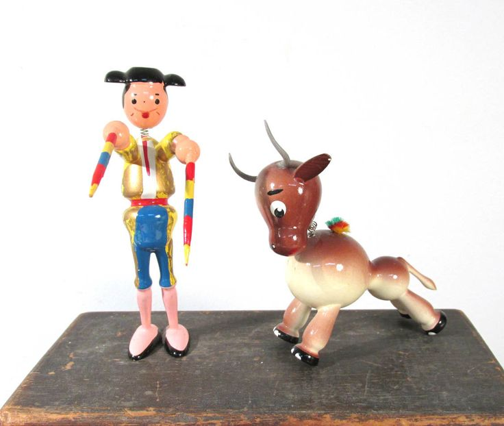 VINTAGE Nodder Bobble Head Matador and BULL Goula Carved Wood Painted Pair Bull and Matador 1970s Made in Spain Figures Collectible (F232) by punksrus on Etsy