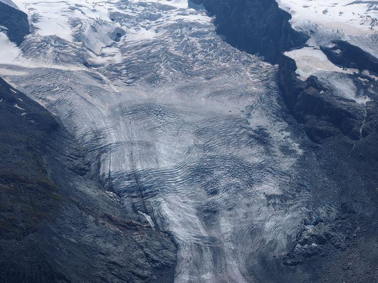 https://flic.kr/p/zGJBbY | Extreme Environments - Crevasses on the Breithorn Glacier seen in the summer from Gornergrat, Zermatt, Switzerland
