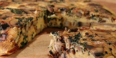 Try this Mushroom and Kale Frittata recipe by Chef Janella Purcell . This recipe is from the show Good Chef / Bad Chef.
