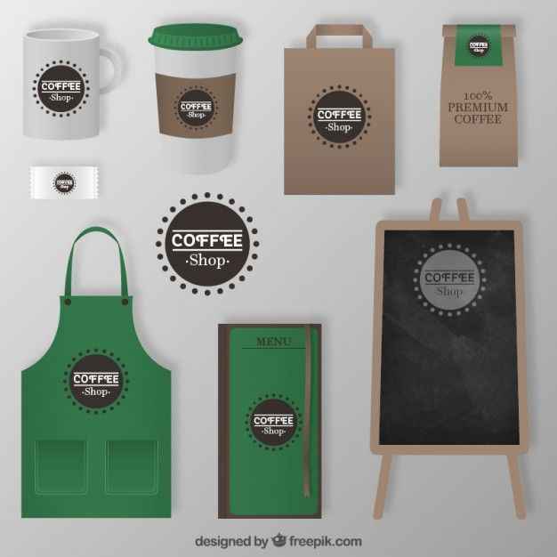 Coffee Shop Corporate Elements Free Vector