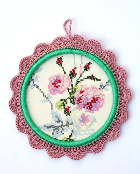 crochet flower frame ornament cross stitch print by babytogo