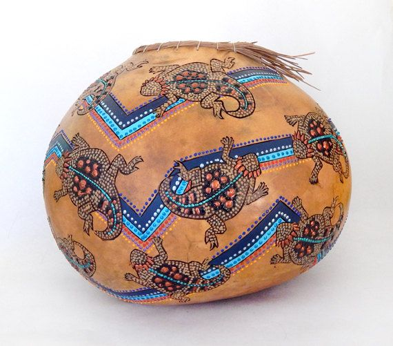 Happy Horned Toad Tribe V 1246 by MesquiteGourds on Etsy, $125.00