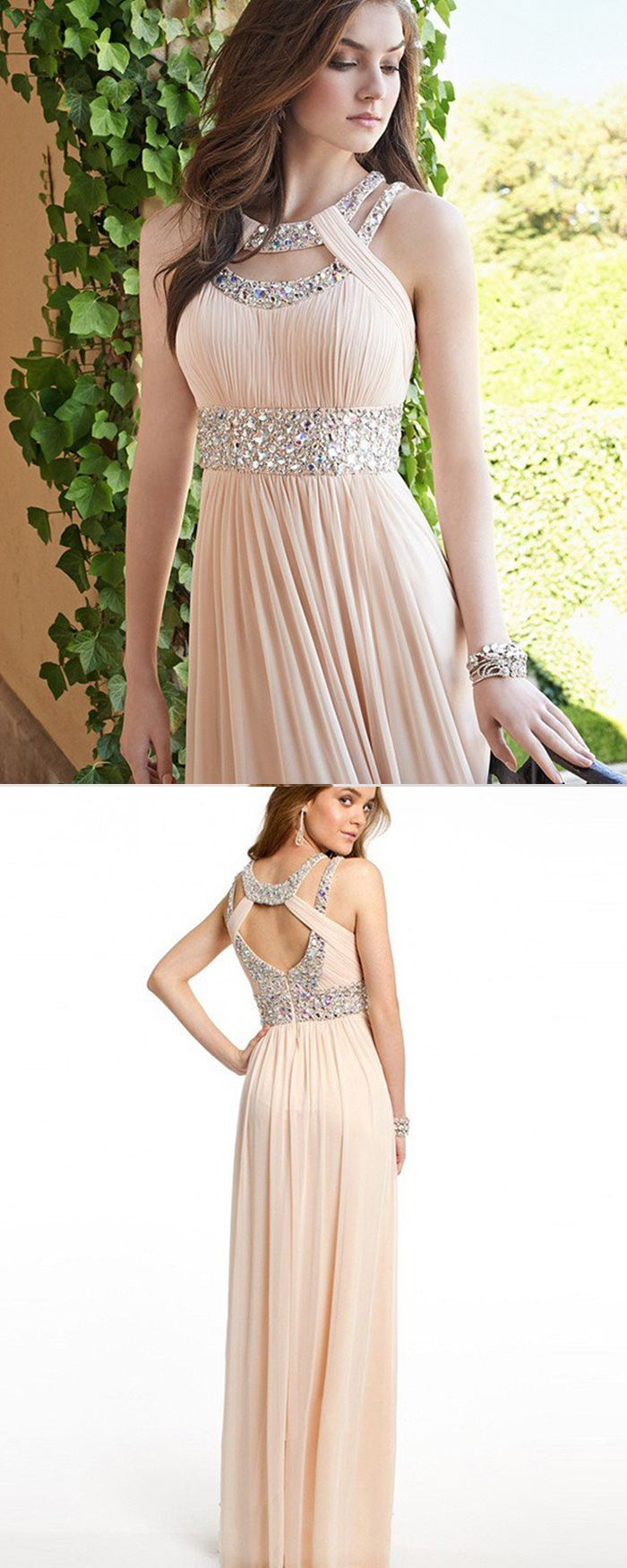 Elegant chiffon cutout beading pleated pink long prom dress pm