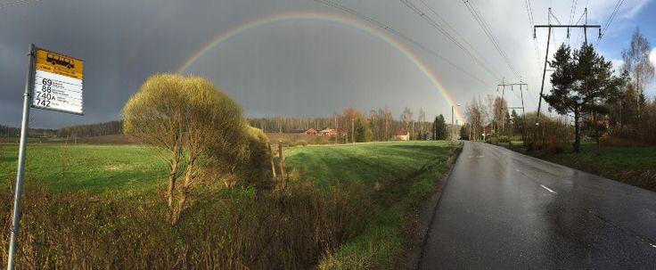 #Rainbow (C) Klaid-Erik Lanna #finland #sky #bussstop #road