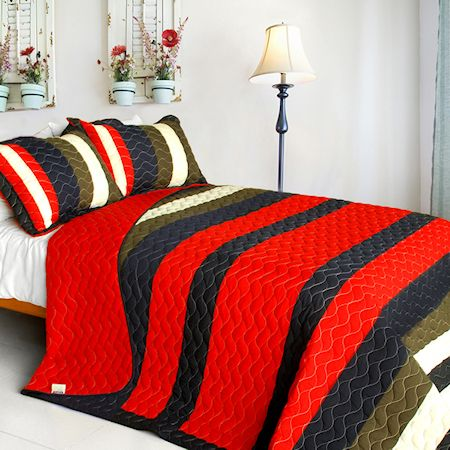 Red Navy Striped Teen Bedding Full Queen Quilt Set