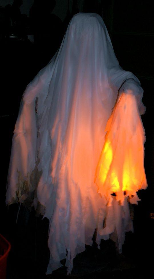 Chicken wire ghost complete with flicker flame lantern.